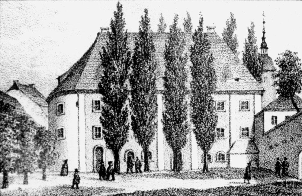 alte Schwarzweiß-Zeichnung des Theaters 1808