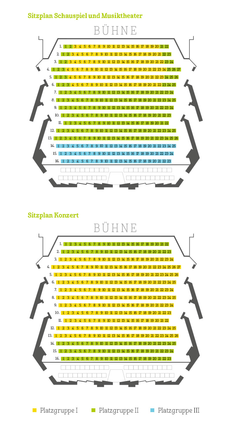 Sitzpläne für Schauspiel, Musiktheater und Konzert im großen Haus